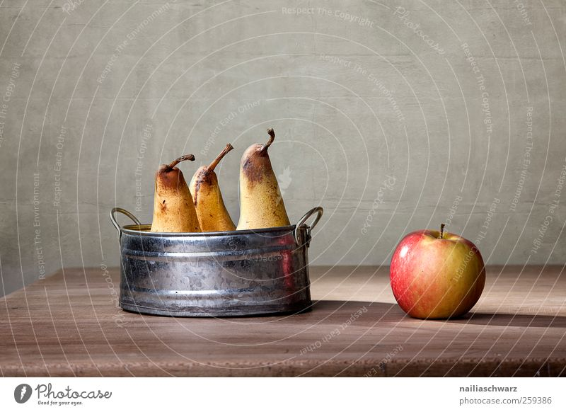 Apple and pears Food Fruit Pear Nutrition Organic produce Vegetarian diet Diet Wood Metal Lie Esthetic Glittering Juicy Clean Cliche Sweet Yellow Red Silver