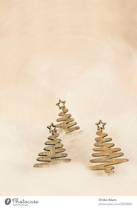 Christmas card Elegant Style Design Decoration Card Feasts & Celebrations Christmas & Advent Wooden figure Fir tree Christmas decoration Beautiful Brown