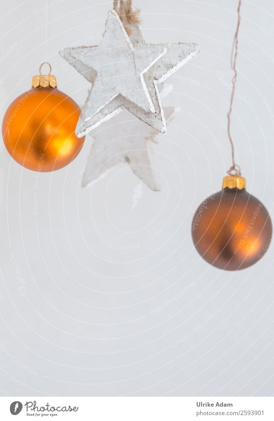 Christmas & Advent White Winter Religion and faith Wood Feasts & Celebrations Orange Bright Decoration Gold Glass Stars Round Card Sphere Hang