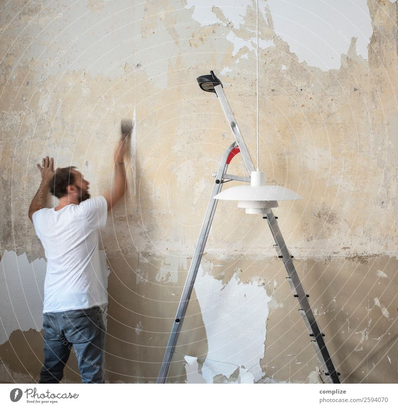 Man removing wallpaper Lifestyle Living or residing Flat (apartment) House building Redecorate Moving (to change residence) Arrange Interior design Room