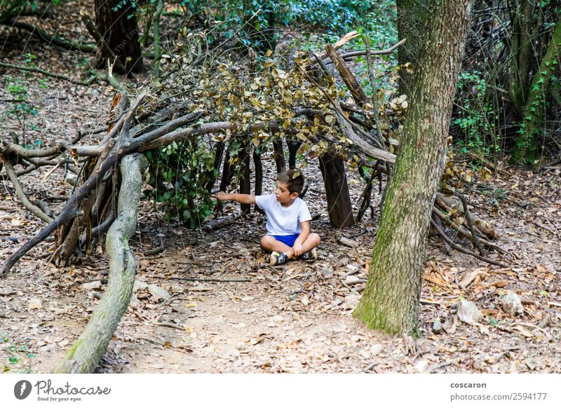 Little boy in his homemade cabin on the woods Lifestyle Joy Happy Leisure and hobbies Playing Freedom Summer House (Residential Structure) Child Human being