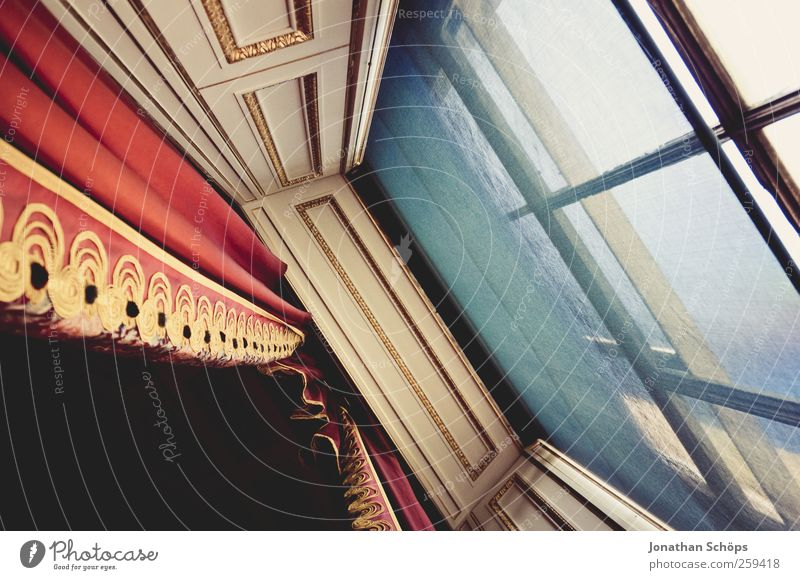 Window royal [oblique] Art Architecture Theatre Blue Gold Red Drape Luxury Grand Window frame Building line Perspective Steep Castle Royal English Noble