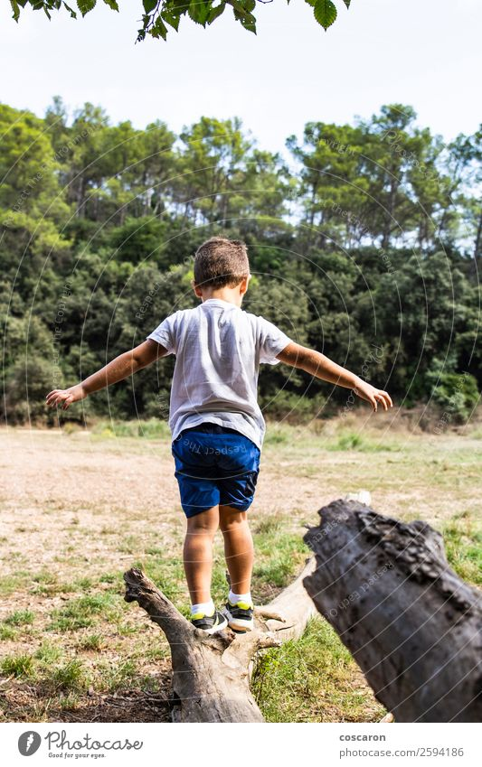 Cute child in the woods playing alone Lifestyle Joy Happy Beautiful Face Playing Vacation & Travel Summer Garden Child Human being Toddler Boy (child) Infancy 1