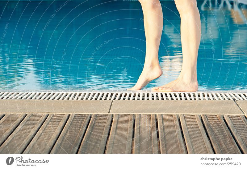 Barefoot at the pool Swimming & Bathing Vacation & Travel Tourism Summer Summer vacation Feminine Legs Feet Relaxation Warmth Attempt Colour photo Exterior shot