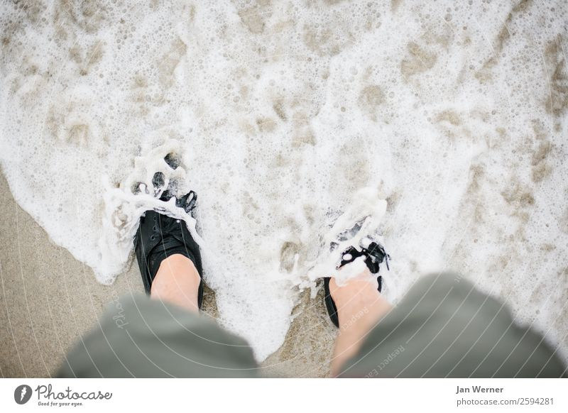 Feet in the sea Wellness Well-being Relaxation Leisure and hobbies Tourism Trip Adventure Freedom Summer vacation Beach Ocean Waves Hiking Retirement