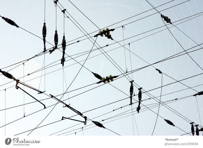 high-tension High voltage power line Sky Beautiful weather Rail transport Hang Threat Tall Above Blue Black Power Dangerous Complex Network Attachment Cable