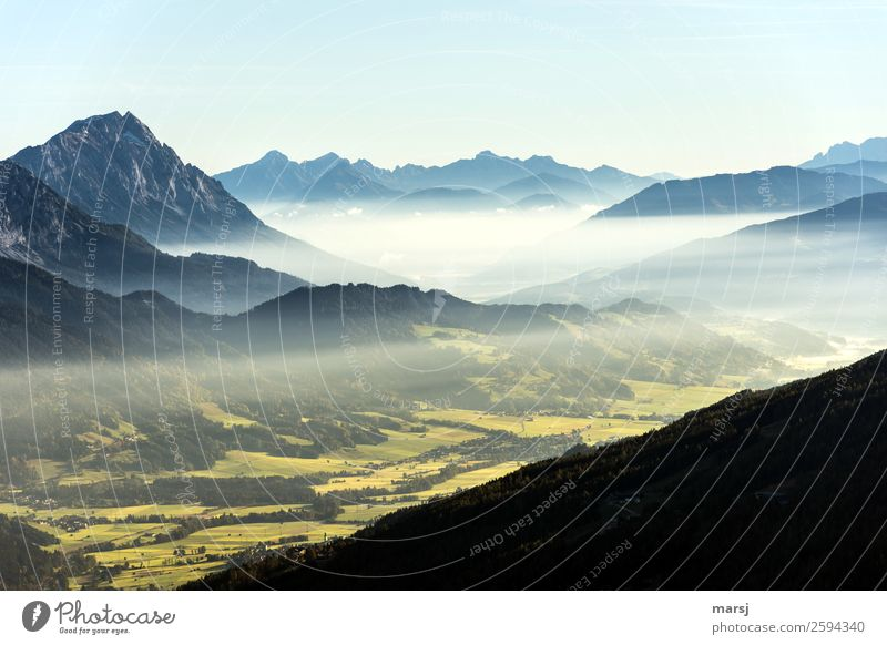 a new day begins Vacation & Travel Tourism Trip Freedom Mountain Hiking Nature Landscape Autumn Alps Ennstaler Alps Mount Grimming Canyon Beginning