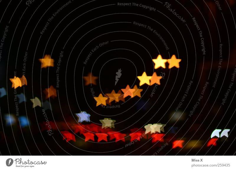 starry sky Christmas & Advent Night sky Illuminate Multicoloured Christmas fairy lights Star (Symbol) Colour photo Experimental Pattern Deserted