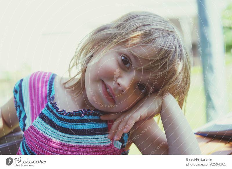 Child Human being Summer Sun Joy Girl Face Eyes Love Feminine Family & Relations Happy Garden Playing Freedom Think