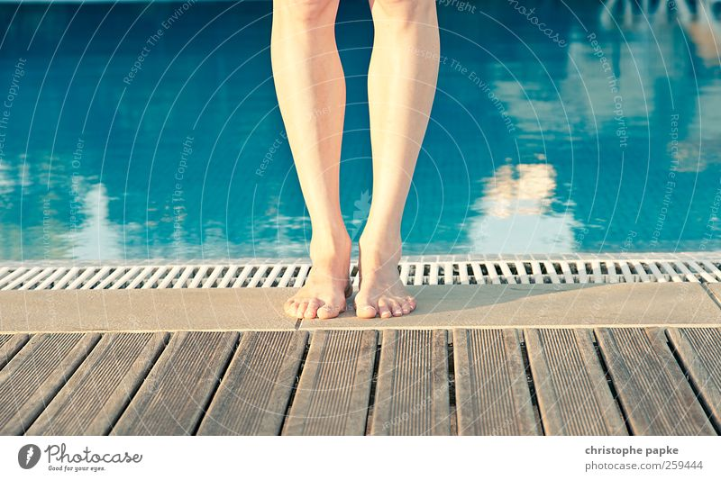 Barefoot at the pool 2 Vacation & Travel Tourism Summer Summer vacation Swimming & Bathing Feminine Legs Feet Stand Fresh Contentment Colour photo Exterior shot
