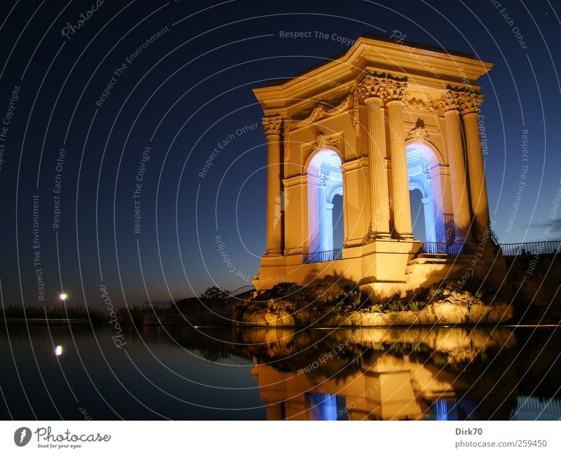 Water supply with style, at night Drinking water Art Architecture Night sky Sunrise Sunset Park Montpellier France Deserted Tower Manmade structures Pavilion