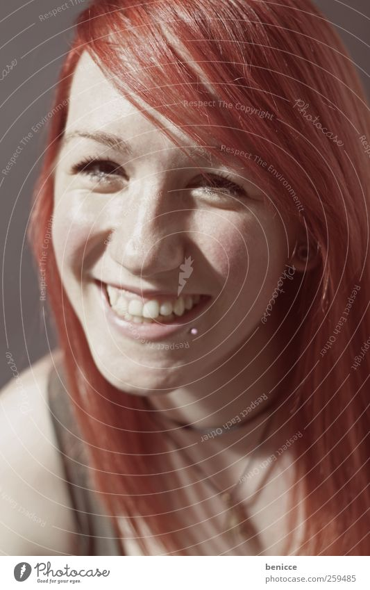 red Woman Human being Red-haired Smiling Laughter Portrait photograph Close-up Workshop Studio shot Looking into the camera Piercing European Beautiful Sweet