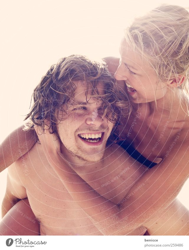hupf aufi Couple In pairs Love Lovers Joy Together piggyback Beach Vacation & Travel Fresh Europe European 2 Human being Youth (Young adults) Young man
