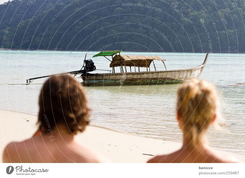 longtail Couple Human being Beach Asia Thailand slow-tailed boat Watercraft Sun Sunbeam Man Woman Lovers Vacation & Travel Travel photography Island Ocean