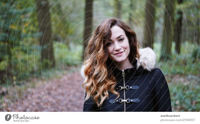young woman walking in autumn forest Lifestyle Leisure and hobbies Human being Feminine Young woman Youth (Young adults) Woman Adults 1 18 - 30 years Nature