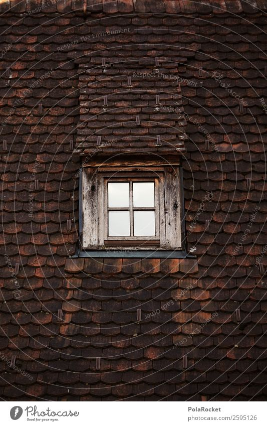 #A# Top floor Hut Esthetic Architecture Roof Gable Skylight Attic story Window Pattern Tiled roof Brick Brick red Old fashioned Colour photo Subdued colour