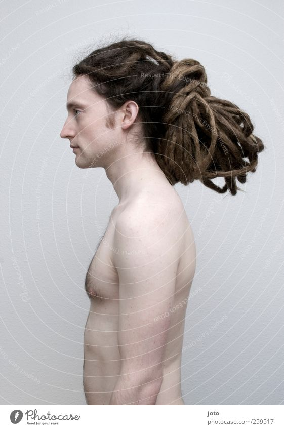 ossified Young man Youth (Young adults) Hair and hairstyles Long-haired Dreadlocks Stand Hip & trendy Uniqueness Naked Calm Identity Motionless Colour photo