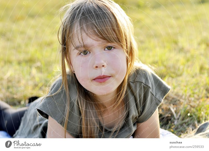 summer child II Child Girl Infancy Head Hair and hairstyles Face Eyes Nose Mouth Lips 3 - 8 years Nature Sunlight Summer Beautiful weather Grass Meadow Looking