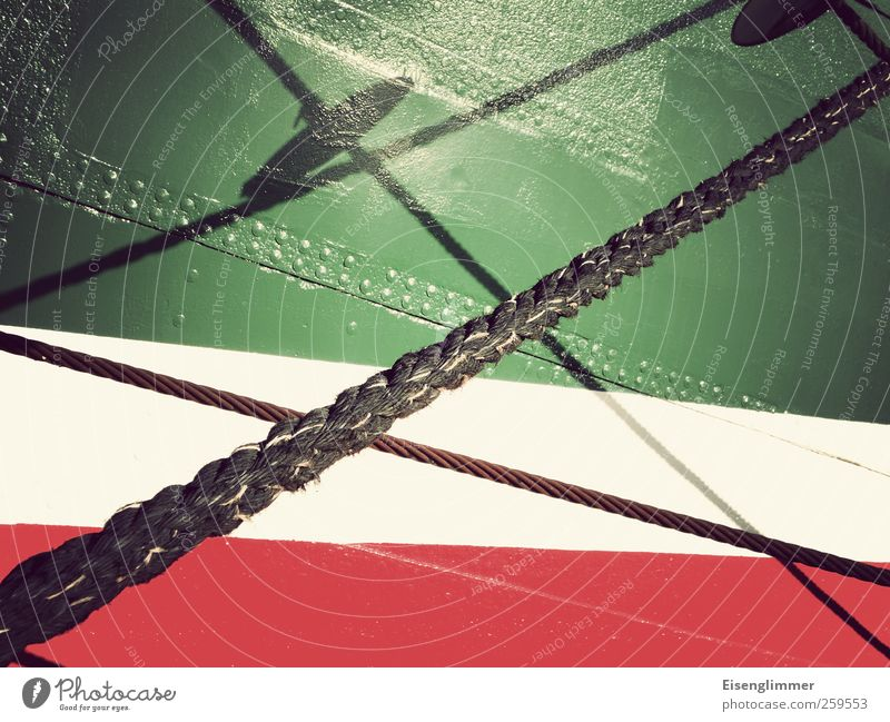 shadow play Sailing ship Network Symmetry Rope Watercraft Rivet Red Green White Rickmer Rickmers Colour photo Detail Experimental Deserted Copy Space right