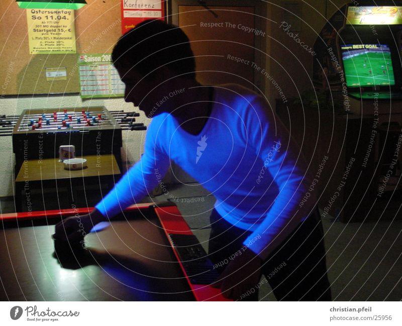 Man Blue Black Dark Playing Lighting Darts Amusement arcade