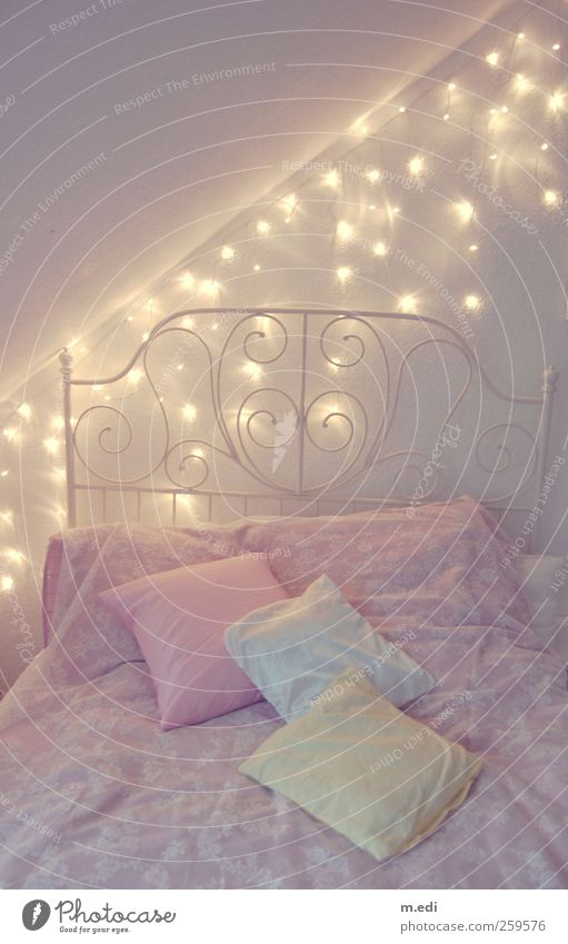 Interior design Pink Bed Kitsch Bedclothes Furniture Hip & trendy Cushion Fairy lights
