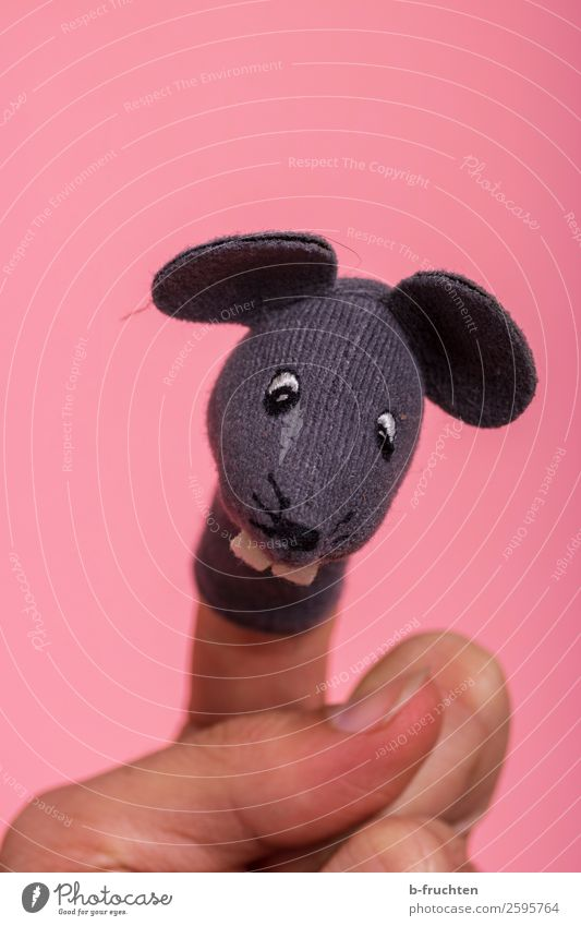 Here comes the mouse Birthday Parenting Kindergarten Hand Fingers Puppet theater Mouse Toys Doll Movement To hold on Smiling Laughter Playing Pink Finger puppet