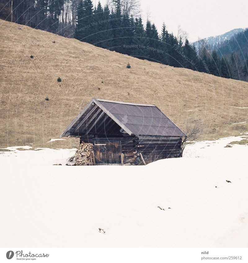 barns Vacation & Travel Trip Winter Snow Mountain Hiking Flat (apartment) Environment Nature Landscape Weather Forest Alps Jachenau Hut Building Wood Old Gray