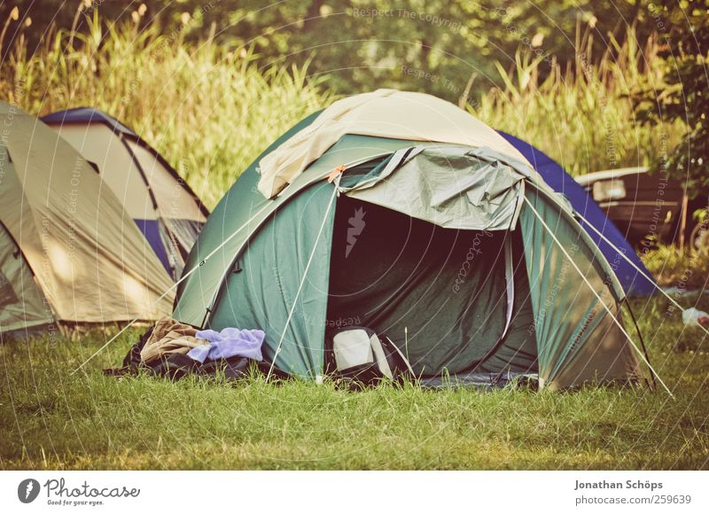 Tent on camping site in the green Environment Nature Landscape Beautiful weather Grass Meadow Green Moody Joy Contentment Joie de vivre (Vitality) Adventure