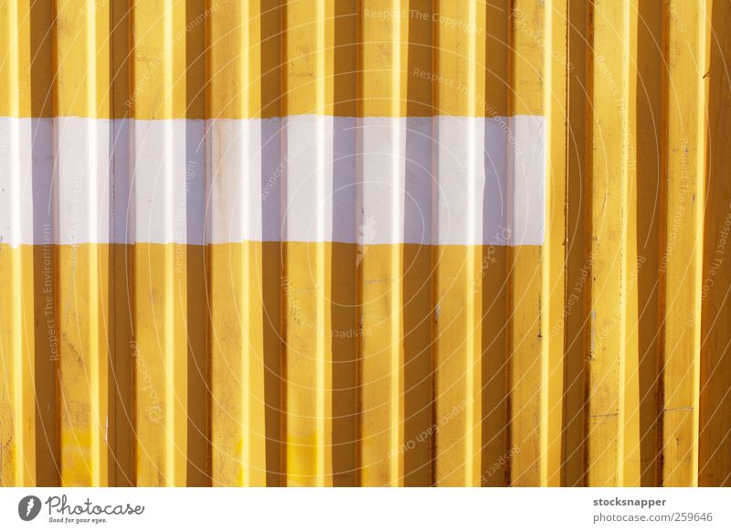 White Stripe urban Grunge Cargo Container Close-up Horizontal Painted Divided Line Deserted Corrugated-iron hut Consistency Background picture Wall (barrier)