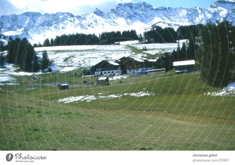 Alpe di Siusi Alpine pasture Meadow Tree Hotel Human being Restaurant Europe House (Residential Structure) Vacation & Travel Seis Dolomites Tourist Tourism