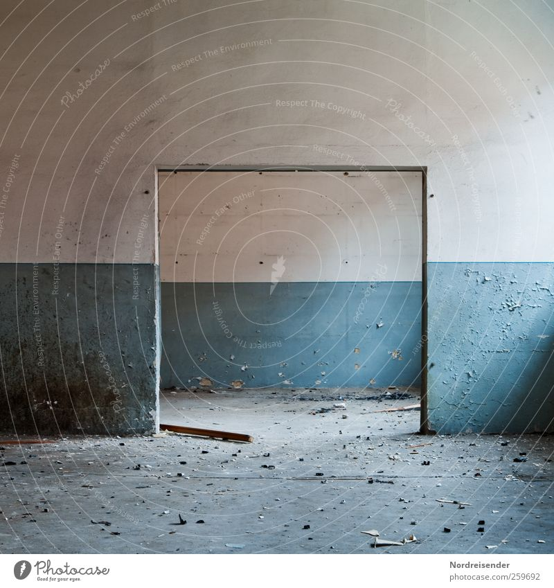 Spatial Redecorate Interior design Room Building Architecture Wall (barrier) Wall (building) Door Dark Broken Blue White Apocalyptic sentiment Stagnating