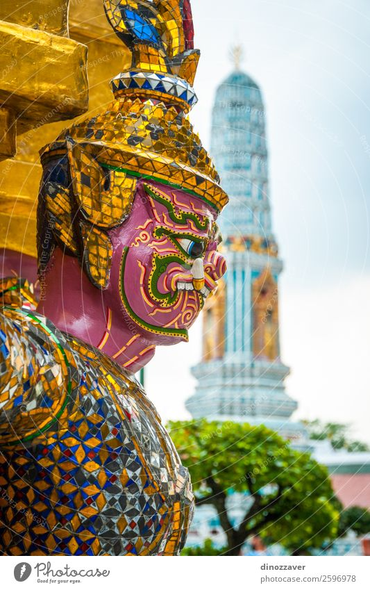 Colorful statue at Wat Phra Kaew temple, Bangkok Vacation & Travel Decoration Art Culture Palace Places Building Architecture Blue Gold Religion and faith