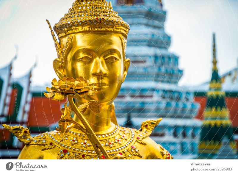Golden statue at Wat Phra Kaew temple, Bangkok Vacation & Travel Decoration Art Culture Palace Places Building Architecture Blue Religion and faith Tradition