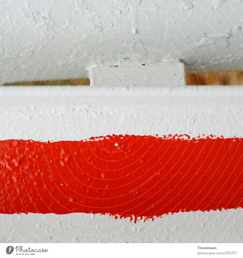 Look out! (red on white) Metal Signs and labeling Aggression Cold Red White Esthetic Warn Considerable Evident Control barrier Colour photo Multicoloured