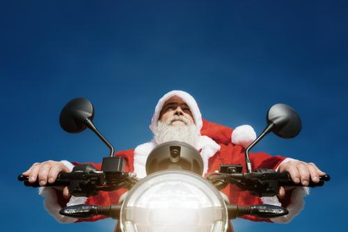 Santa Claus on the motorcycle Joy Winter Christmas & Advent Human being Masculine Man Adults Facial hair 45 - 60 years Motorcycle Blue Red Motorcyclist