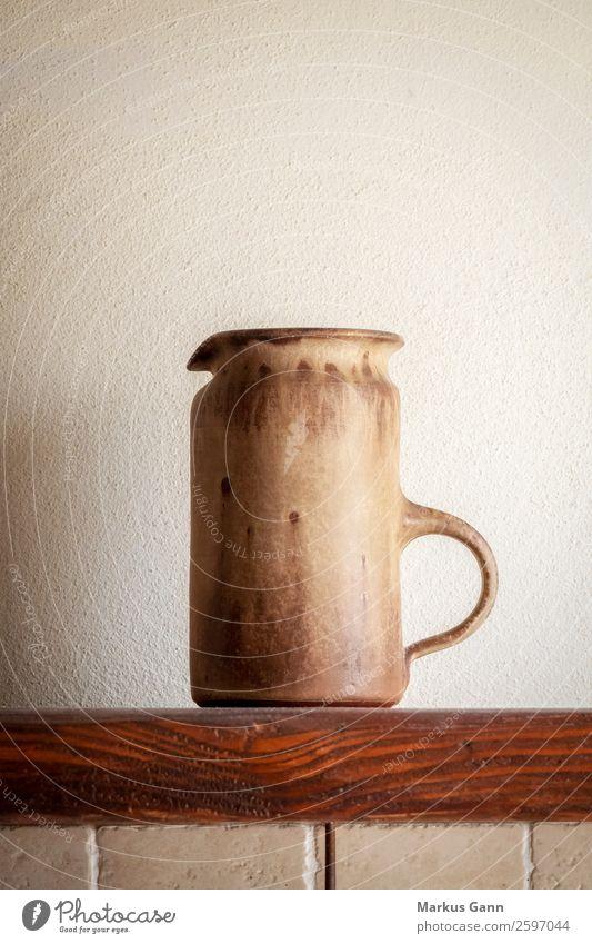 an italian pitcher of pottery Design Life Decoration Kitchen Art Culture Accessory Stone Old Historic Retro Brown Gray White Colour Tradition ceramic