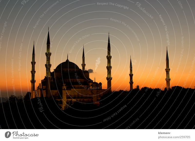 The Beatiful Blue Mosque with all 6 minarets in a sunset scene Vacation & Travel Landscape Architecture Building Religion and faith Earth Pink Tourism Europe Church Asia Monument Historic Dusk Tourist Wonder