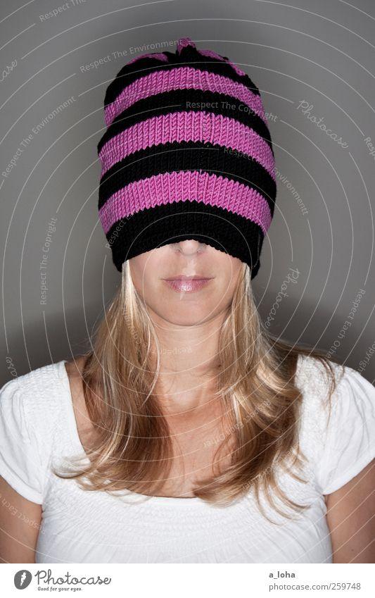 Woman Black Adults Feminine Warmth Head Blonde Pink Stripe T-shirt Long Thin Cap Hip & trendy Long-haired Striped