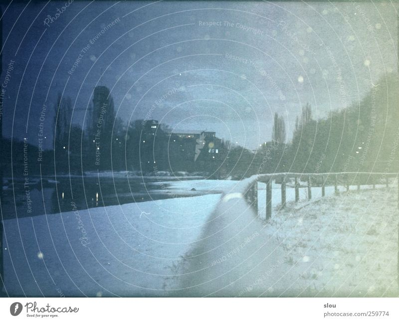 isar@night Winter River Isar Munich Town Deserted Cold Blue Gray Fence Museum Analog Colour photo Subdued colour Exterior shot Night Long exposure