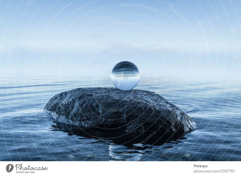 Crystal orb on a large black rock Sky Nature Blue Beautiful Landscape Ocean Calm Beach Environment Natural Coast Stone Rock Vantage point Glittering Future
