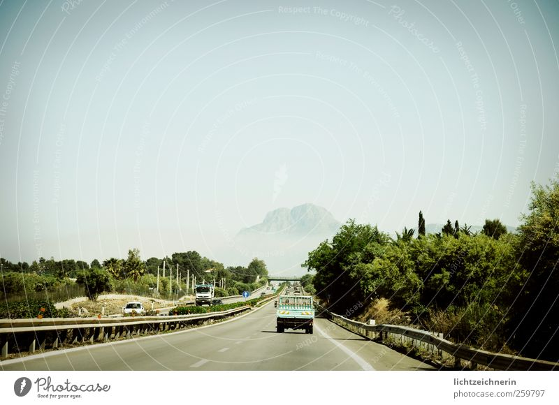 on the road Trip Adventure Far-off places Summer Landscape Sky Climate change Mountain Italy Sicily Street Vehicle Car Driving Speed Horizon Idea Brave
