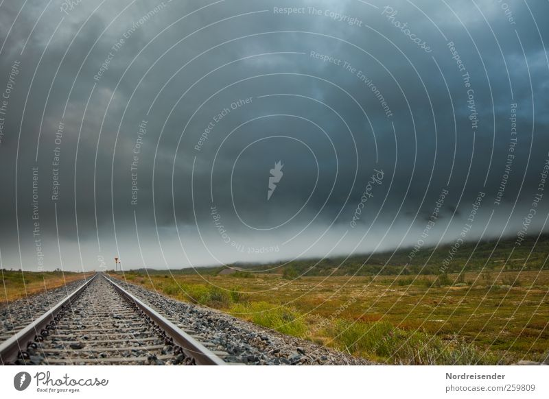 Loneliness Dark Landscape Moody Rain Fear Climate Threat Elements Logistics Observe Sign Creepy Railroad tracks Steel Storm