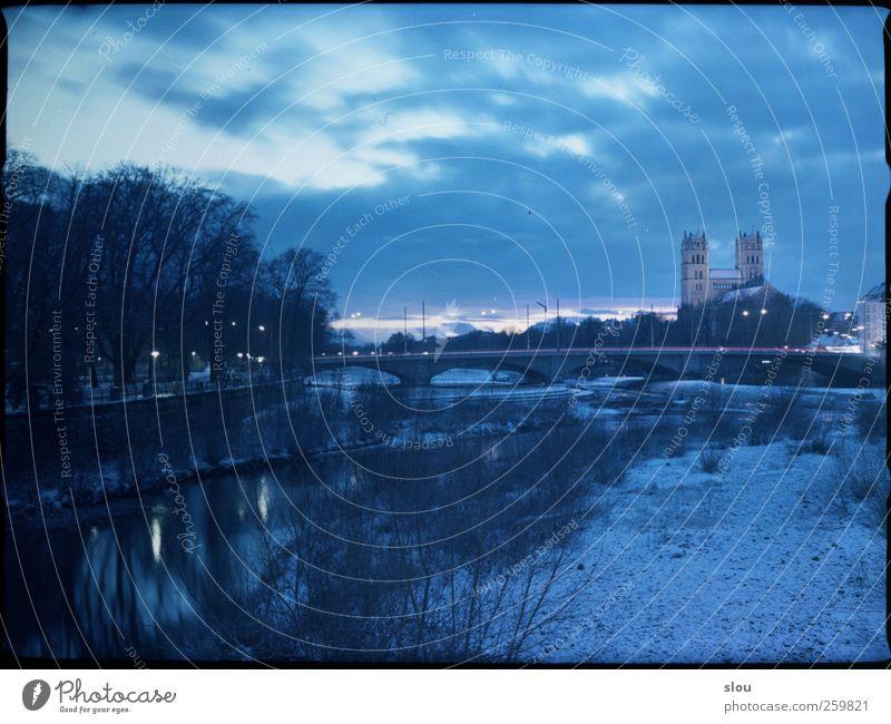 isar@night III Winter River Isar Munich Church Bridge Blue Analog Long exposure Sky Colour photo Exterior shot Night Central perspective