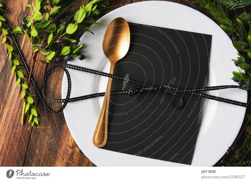 menu place setting with empty card and golden spoon Old Christmas & Advent Winter Black Warmth Wood Family & Relations Style Design Decoration Birthday Table
