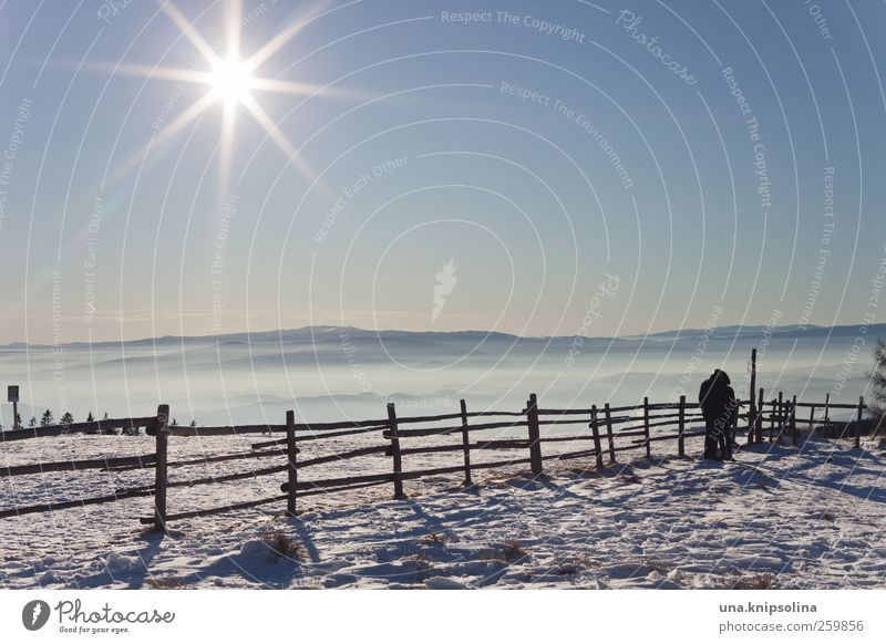 1445 m. a.s.l. 2 Human being Nature Landscape Cloudless sky Sun Sunlight Winter Beautiful weather Snow Mountain Peak Hiking Cold White Far-off places