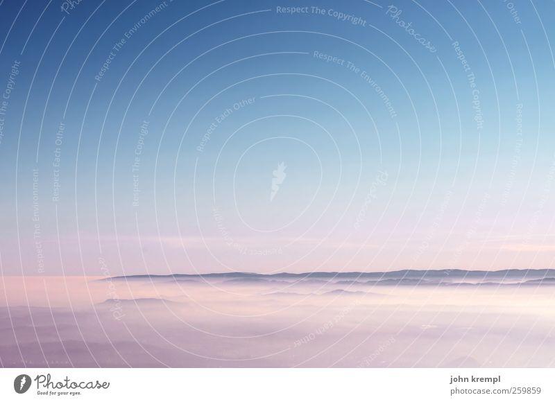Sky Blue Beautiful Landscape Clouds Far-off places Mountain Happy Pink Horizon Contentment Fog Joie de vivre (Vitality) Romance Peak Hope