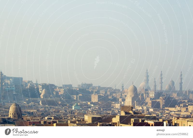 Cairo [Smog] Sky Cloudless sky Town Capital city Downtown Skyline House (Residential Structure) Mosque Tower Colour photo Exterior shot Aerial photograph