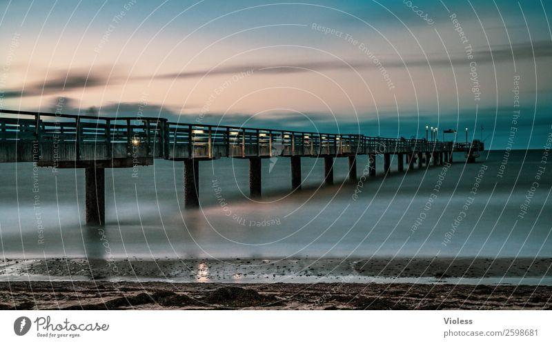 Heiligendamm III Bridge Tourist Attraction Famousness Blue Sea bridge Baltic Sea Health Spa Long exposure Beach Mecklenburg-Western Pomerania Evening Twilight