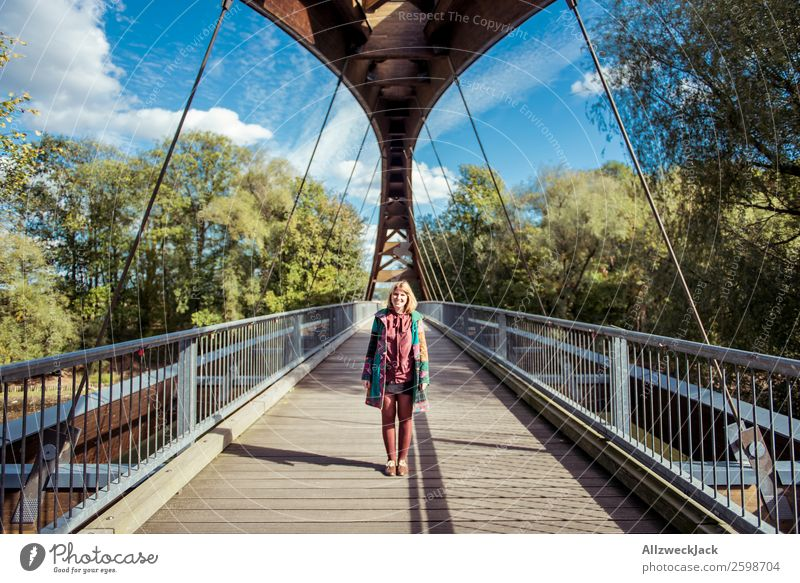 young woman on wooden bridge in Frankfurt 1 Person Young woman Beautiful weather Blue sky Clouds Happiness Free Walking To go for a walk Bridge Wooden bridge
