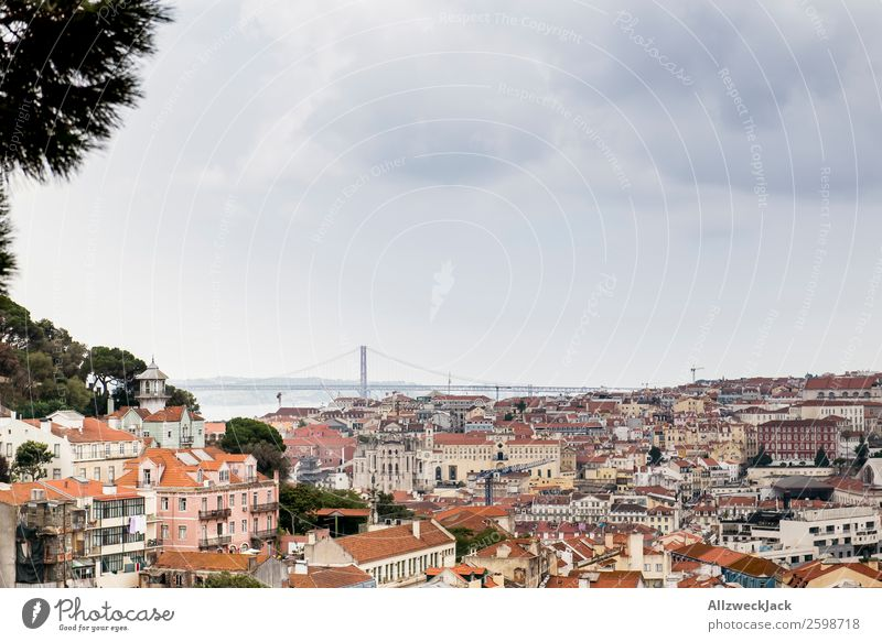 City panorama of Lisbon in Portugal Panorama (View) Skyline Vantage point Ocean Beautiful weather Clouds Vacation & Travel Vacation photo Vacation destination